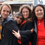 At Moolana Yakama with Liam Kelly, Aunty Rochelle Patten and Aunty Mine Mace - photo Clare McCellanad